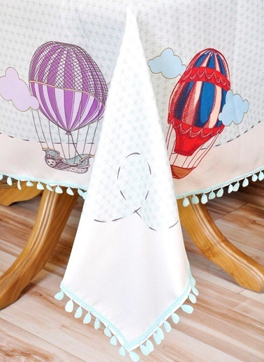 The Mia Balon Desenli Masa Örtüsü - 140*140 Cm Renkli
